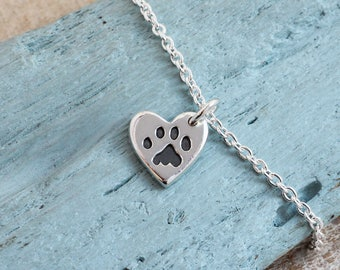 Heart Paw Print Bracelet, Paw Print Jewellery, Pawprint Bracelet, Pet Loss Gift Ideas, Pet Loss Gifts Cat, Gift for Cat Lover, Pet Memorial