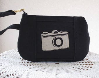 Camera Wristlet, Zipper Gadget Pouch, Purse,  Retro Camera Bag