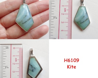 Blue Peruvian Opal Sterling Silver SS Bezel Pendant One Piece Many Choices available H6109 H6111 H6112 H6113