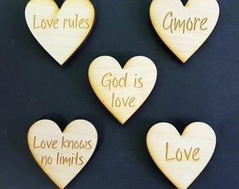 Wedding Favor, Heart Magnets -  Custom Sayings