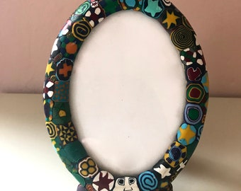 Vintage Colorful Clay Picture Frame