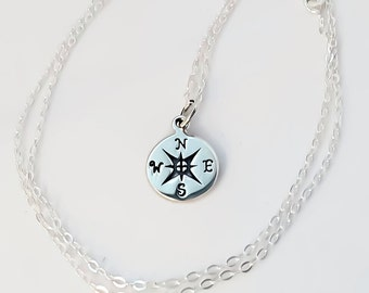 Compass necklace, sterling silver compass, gift for her, minimalist necklace