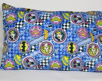 Pillowcase made with Wonder Woman Fabric - fits 13 x 18  Travel or Toddler Pillow