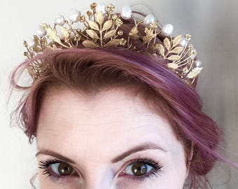 The AGATHA Crown, queen, tudor, renaissance, pearl, leaf, leaves, pearls, princess, tiara, prom, festival, game of thrones, gold, floral
