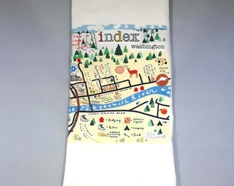Index, WA map tea towel