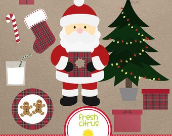 Christmas Clip Art Santa Christmas Tree Red Plaid