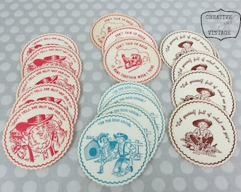 Vintage paper drink coasters scalloped 1950's graphics & sayings 16 pieces Rockabilly vibe Kitschy Retro