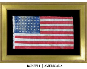 45 Star Antique American Flag with an Interesting Notched Pattern   Circa 1896-1907
