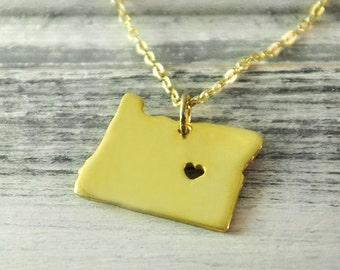 I  heart  Oregon  Necklace Oregon  pendant 18K gold plated state necklace state pendant map pendant  hammered state necklace map jewelry