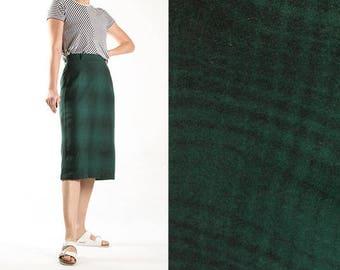 Vintage Green Striped Pencil Skirt Midi Skirt Forest Green Dark Green Tartan Skirt Size Small US 6 8