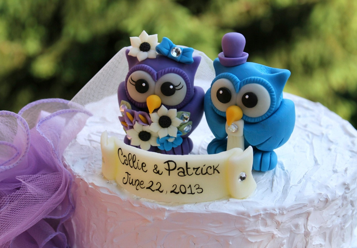 Owl love bird wedding cake topper malibu blue and royal