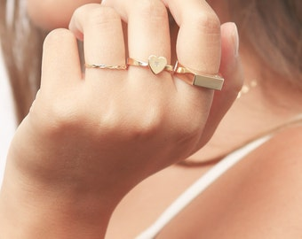 Heart ring, Gold Heart Ring, Love Ring, Dainty Gold Filled Ring, Delicate Jewelry.