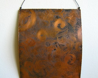 Etched Copper Painting, Abstract, 2D, Metalart with Patina
