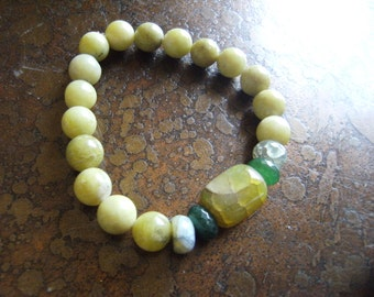 Foliage Rainbow Agate Lemon Jasper and Agate Beaded Stretch bracelet
