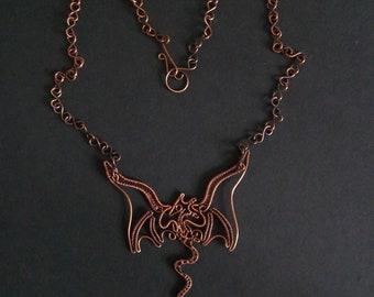 Handmade OOAK copper wire work dragon necklace