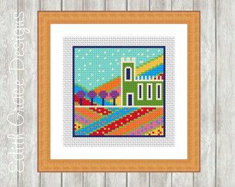 Cross Stitch Pattern - English Church - Folk Art - Modern Cross Stitch Pattern - Counted Cross Stitch Chart - Sewing - Embroidery Design