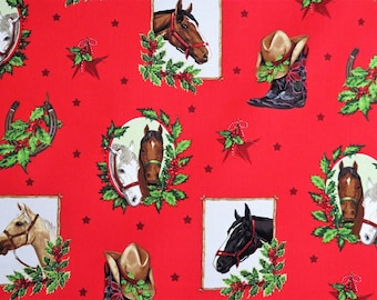 Red Western Collage Horses Holiday Robert Kaufman #6286 By the Yard