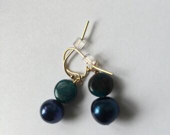 Blue Pearl, London Blue Teal Apatite, gold Earrings, Jewelry, Lilyb444, Something Blue, Wedding,