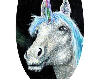 Unicorn Surreal Glitter Watercolor Art Print Crystal Painting Monoceros