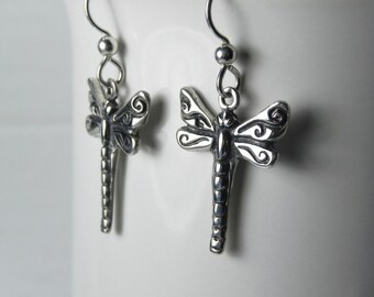 Dragonfly Earrings - Dragon fly Jewelry - Sterling Silver Dragonflies - Unique Whimsical Nature Vintage Inspired Dragonfly Dangle Earrings