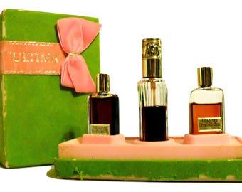 Vintage 1970s Ultima by Revlon Perfume Oil, Eau de Parfum, Eau de Parfum Spray Perfume Trio Gift Set