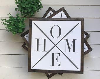 "HOME | handmade wood sign | 13"" x 13"" 