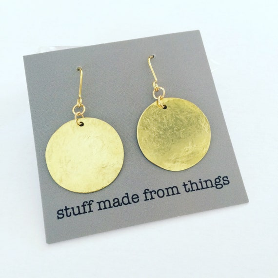 Simple Planished Raw Brass Disc Earrings - Modern - Geometric - Circular - Gold - Gypsy - Round - Circle - Simple - Stunning - Statement -