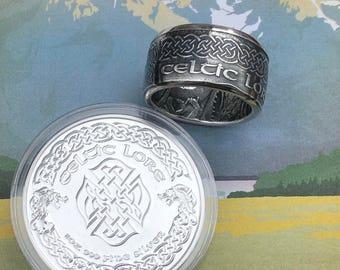 Celtic Lore Coin Ring -- 99.99% Pure Silver