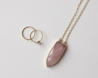 Rose Quartz Necklace - Long Layering - Gold Chain - Healing Crystal Gemstone Necklace