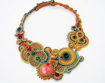 Soutache  necklace spring - Multi colored statement collar, fashion jewellry, soutache jewelry, soutache collar in multi color