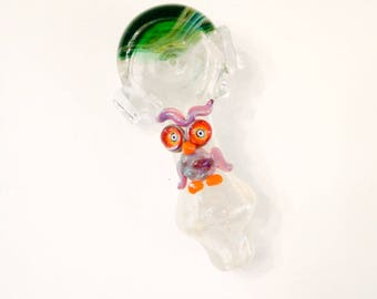 Double Amber Purple Owl Green Color Changing Hand Blown Glass Tobacco Pipe with Flower Stamp