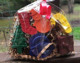 Stocking Stuffer // Christmas PARTY FAVOR Crayons // Christmas Favor // Christmas Crayon // Santa Crayons // Xmas // Christmas Stocking