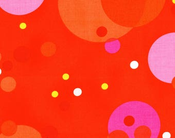 Alexander Henry Summer Dots Red Pink Orange 100% Cotton Fabric Yardage OOP out of print