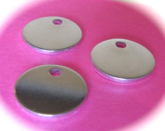 "10 Discs 1/2"" 14 Gauge Polished with Hole Pure Food Safe Metal - 10 Discs"