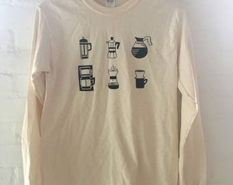 Coffee T-Shirt, Fruit Shirt, Food Shirt, Screen Printed T Shirt, Long Sleeve shirt