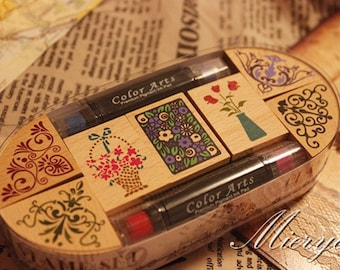 Korean Lace Rubber Stamp Set  - Wooden Stamps - Deoc Stamps - Style 1