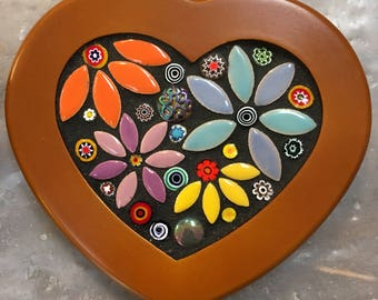 Mosaic Heart Box with Flowers