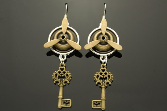 Steampunk Dangly Earrings, Spinning Propellers, Keys, Bronze, Silver, Hand Made