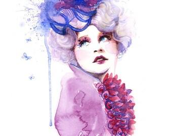 Watercolor Art Print - Fashion Makeup, Hat, Elizabeth Banks, Effie