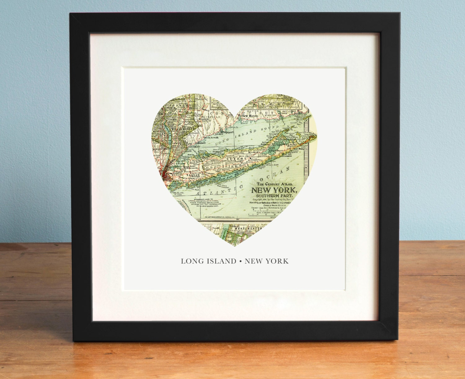 Long Island Map Long Island New York Map Heart Map Vintage