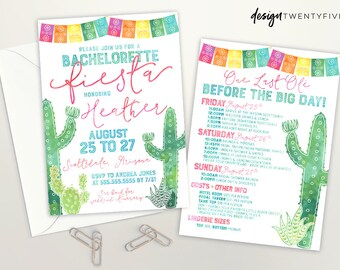 Fiesta Bachelorette Invite | Fiesta Bridal Shower | Fiesta Party Itinerary | Summer Bachelorette | Bachelorette Fiesta |Nacho Average Fiesta