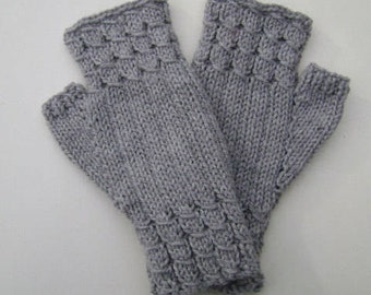Hand- Knit Fingerless Gloves in Light Grey. Knit Hand warmers. Fingerless Mittens. Gift for Her.