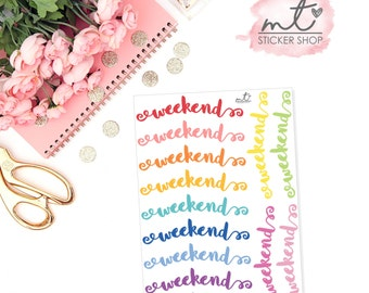 Script Weekend Banner || Planner Stickers || Erin Condren Life Planner, Happy Planner || SKU 052
