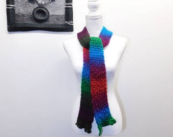 Bright and Bold Handmade Loom Knit Scarf - Stockinette Stitch - Hemmed Ruffle Ends - Apple Orchard Rainbow Gradient Color