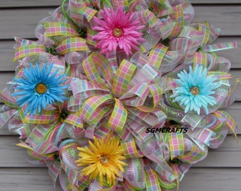 Spring/Summer Deco Mesh Wreath Flower Deco Mesh Wreath Flower Deco Mesh Wreath Rainbow Deco Mesh Wreath Daisy Wreath Summer Decor