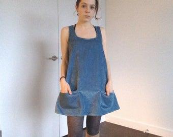 Sky Blue Corduroy Mini Dress