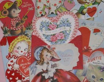 Vintage Greeting Card Lot-Ephemera-Mixed Media-Paper-Crafts-Scrap Booking-Baby-Childrens-Set of 8-Valentines