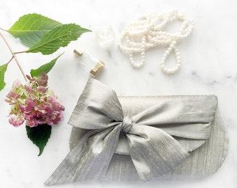 Neutral Bridesmaid Clutch. Silver Wedding Clutch. Bridal Clutch. Monogram Clutch. Personalized Purse. Silk Clutch Purse. Nude Clutch.