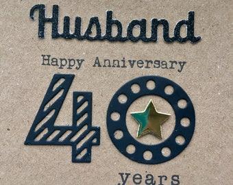 Anniversary cards 40 years ~ Th wedding anniversary card husband years tin