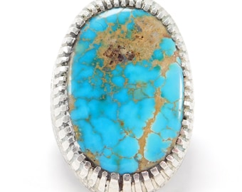 Large Ornate Natural Turquoise Silver Ring